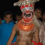One of the Theyyam performs at Andalur Kaavu, Dharmadam