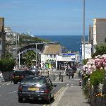 View from outside St Breca, down the hill to the shops and beach