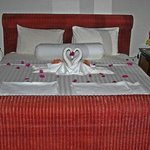 Our bed on arrival - such care by the staff