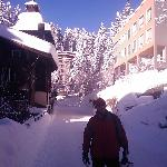 The small road from the hotel to the ski lifts- we could ski our way back to the Astoria's doors