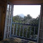 view of mountains from our bed