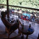 Enjoying the balcony at the Plaza Colon