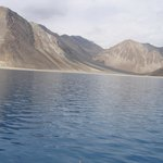 mountains from the pangong tso lake in leh... its china beyond the mountains
