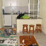 Livingroom, showing kitchen