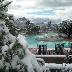 Snow by pool