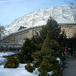 A dome protects the track site and serves as a visitor center