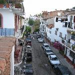 view of the street from the balcony