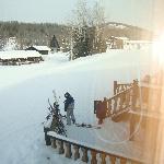 Kids getting ready to ski to breakfast