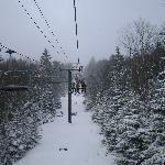 Chairlift view after snowfall