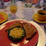 One of Betty's Gourmet Breakfasts! (on vintage china and linens!)