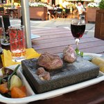 Stone grilled meat & wine