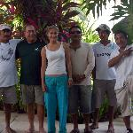 The writer with some of the great dive shop and hotel staff