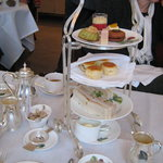 Silver tea service at Brown's