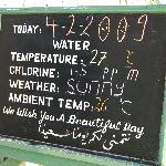 Daily temperature board by the pool