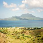 View of Nevis from hills behind the beaches - steep hike, but not too hard. Photo from 1988.