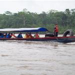 Motorized canoe on the Napo River