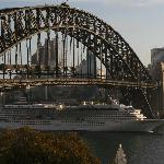 Cruise liner bridge view from Milson Apartments 'partial bridge view' room, 5th floor Sydney Aus