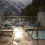 Pool, one jaccussi with backdrop of Cascade Mountains