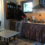 The coffee/microwave area