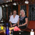 Barry and Mina behind their bar - a wonderful place.
