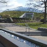 Water feature with Glasshouse distant.