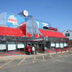 The spotless exterior of the Jefferson Diner.  They make an outstanding burger.