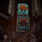 Stained glass along winding staircase - Bishop's Palace