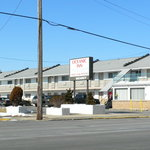 The motel's exterior during the winter months.