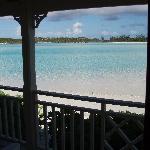small beach behind the marina