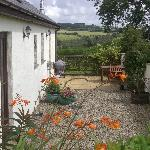 Private courtyard garden of Cowshed Cottage