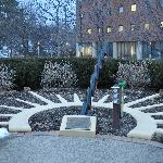 Sundial in front of hotel