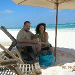 beach beds and umbrella, beautiful beach