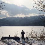 Lake near ski mountain, breathless.