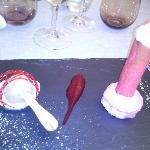 glace saveur pomme au four, craquant et mousse fraise tagada