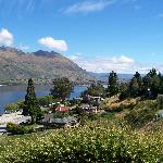View from the porch looking up the lake towards Mt Aspiring