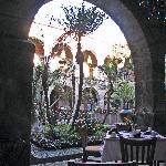View of courtyard from restaurant