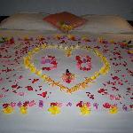 Flower petals adorned our bed