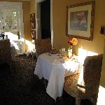 The small and personable dining room