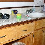 Vanity, sink with drawer in disrepair