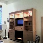Shelving unit with fireplace