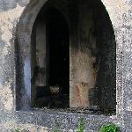 An arched window on the lower floor of the ruins of the Folly Mansion