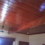 The wood ceiling.