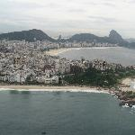 aerial view of Ipanema beach with Copacabana behind it