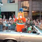Look! It's the San Diego Chicken making an appearance at the parade!!