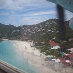 View of St. John's Beach in St. Barts from plane