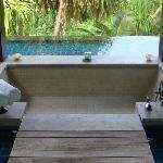 Bath inside the infinity pool
