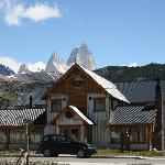 Front of the hotel with Mount Fitzroy