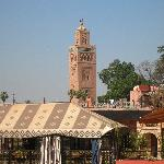 View of Koutoubia Mosque from roof terrace
