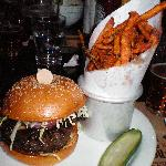 American Kobe Beef Burger w/Portobella Mushroom ($18.50); Sweet Potato Fries ($5)