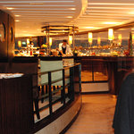 Inside the Al Dawaar restaurant: note sushi chef at work in the buffet and two tiers of seating